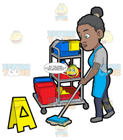 A Black Female Janitor Mopping The Floor