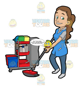 A Pretty Female Janitor Cleaning The Floor