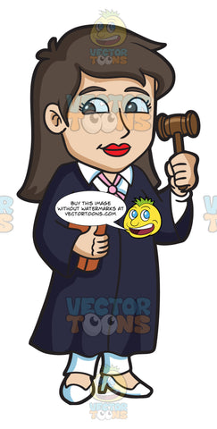 A Female Judge Holding A Gavel