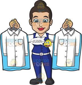 Female Laundry Worker Displaying Two Dry Cleaned Shirts