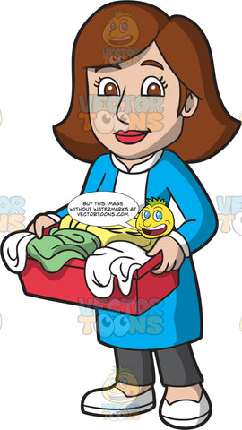 Female Laundry Worker Carrying A Hamper With Wet Clothes