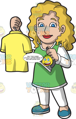 Female Laundry Worker Holding An Ironed Shirt