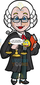 A Female Barrister Holding A Scale And Book. A woman wearing a white wig, a black robe with white collared shirt and green pants underneath, black shoes, and eyeglasses, holding a scale in one hand, and a book in the other