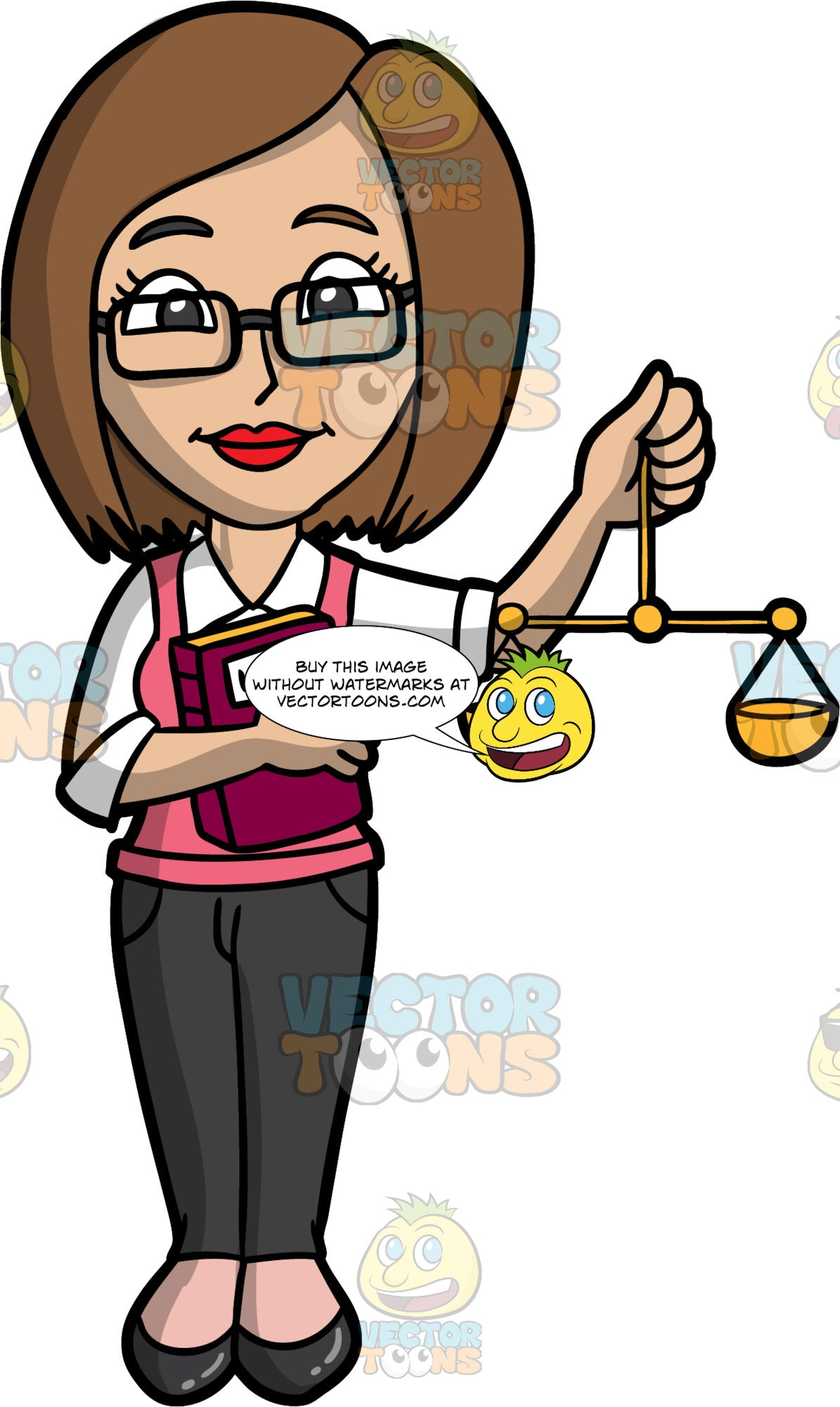 A Female Lawyer Holding A Scale And A Law Book. A woman with shoulder length brown hair, wearing dark gray pants, a pink vest over a white collared shirt, black flat shoes, and eyeglasses, holding up a gold scale with one hand, and a law book with the other
