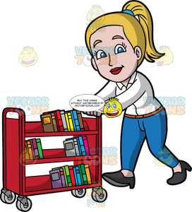 A Female Librarian Pushing A Library Cart. A woman with dark blonde hair tied up in a ponytail, wearing blue pants, a white blouse, and black shoes, pushing a red library cart filled with books