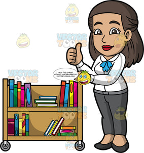 A Female Librarian Giving A Thumbs Up. A woman with brown hair and eyes, wearing gray pants, a white blouse, and dark gray shoes, holding onto a library cart with one hand, while giving the thumbs up with the other