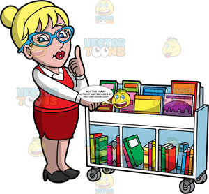 A Female Librarian Telling Someone To Be Quiet While Putting Books Away. A woman with blonde hair tied up in a bun, wearing a red skirt, a red vest over a white blouse, black shoes, and blue eyeglasses, pushing a library cart with one hand, while putting her index finger of her other hand up to her lips, indicating she wants someone to be quiet