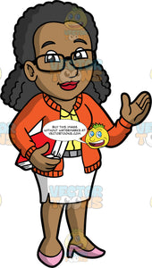 A Welcoming Female Librarian. A black woman wearing a white skirt, an orange cardigan over a yellow blouse, pink shoes, and eyeglasses, holding two books in one hand, while waving hello with the other