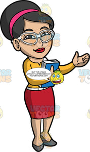 A Friendly Female Librarian. A woman with black hair tied up in a bun, wearing a red skirt, a yellow shirt, gray shoes, a pink head band, and white eyeglasses, standing an holding a book in one hand, while holding out the other hand in a welcoming gesture