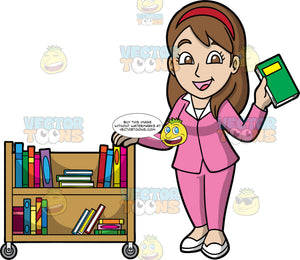 A Female Librarian Putting Books Away. A woman with long brown hair and brown eyes, wearing a pink pant suit, white shoes, and a red head band, holding onto a library cart filled with books with one hand, while putting a book back on the shelf with the other