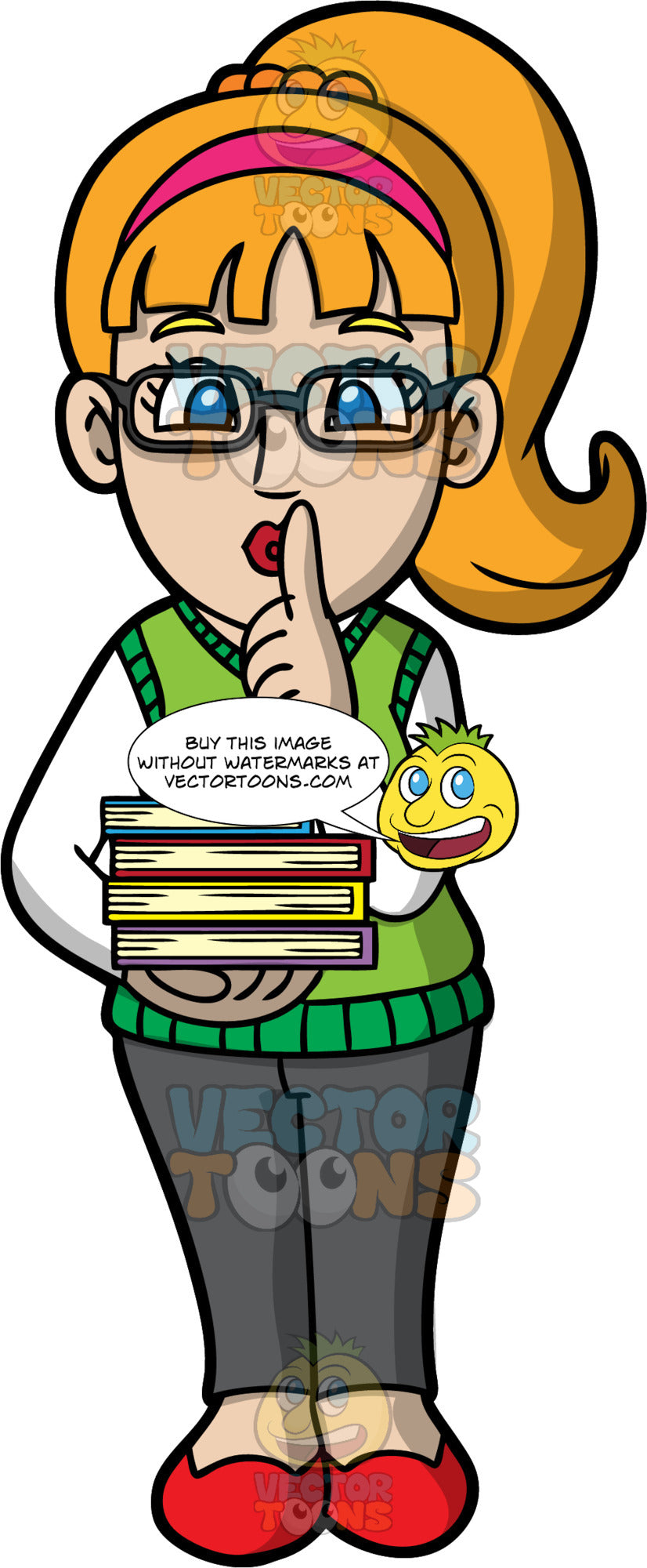 A Female Librarian Indicating To People To Be Quiet. A woman with ginger hair and blue eyes, wearing dark gray pants, a green sweater vest over a white shirt, red shoes, and eyeglasses, holding books in one hand, while putting her index finger to her lips with the other