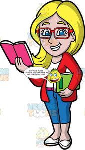 A Female Librarian Reading A Book. A woman with long blonde hair and blue eyes, wearing blue capri pants, a red cardigan sweater over a white shirt, white shoes, and red eyeglasses, holding a book under one arm, and an open book in her other hand
