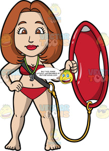 A Female Lifeguard Holding A Patrol Rescue Can. A female lifeguard with brown hair and eyes, wearing a red bikini, and a whistle around her neck, standing with one hand on her hip, while she holds up a red patrol rescue can with her other hand