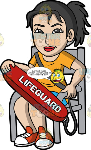 A Female Lifeguard Keeping An Eye On Nearby Swimmers. A female lifeguard with black hair tied up in a ponytail, wearing blue shorts, an orange t-shirt, and red shoes, sitting in a chair, holding onto a lifeguard rescue tube as she watches nearby swimmers