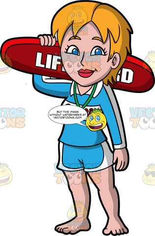 A Female Lifeguard Holding A Lifeguard Rescue Tube. A female lifeguard with auburn hair and blue eyes, wearing blue and white shorts, a blue and white long sleeved lifeguard shirt, and a whistle around her neck, standing with arm at her side, while she holds up lifeguard rescue tube with the other arm