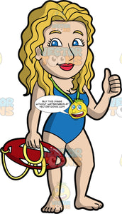 A Female Lifeguard Signaling That Everything Is Okay. A female lifeguard with blond hair and blue eyes, wearing a blue one piece bathing suit, and a whistle around her neck, giving the thumbs up with one hand, while holding a patrol rescue can in the other