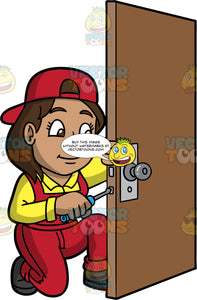 A Female Locksmith Using A Screwdriver To Fix A Broken Lock. A woman with brown hair and eyes, wearing red overalls with a yellow shirt underneath, a red hat on backwards, and black work boots, fixing a broken lock on a door with a screwdriver