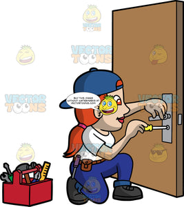 A Female Locksmith Fixing A Broken Lock. A woman with red hair, wearing blue pants, a white shirt, a tool belt around her waist, a blue hat on backwards, and black work boots, kneeling down and fixing a broken door lock with a screwdriver