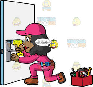 A Black Female Locksmith Fixing A Broken Lock. A black woman wearing pink overalls with a tool belt around her waist, a pink hat, and brown shoes, kneeling on one knee and using a yellow drill to fix a broken lock on a door. A red toolbox filled with various tools is on the floor beside her