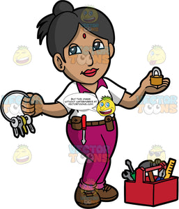 A Female Locksmith Holding A Lock And A Bunch Of Keys. An Indian woman wearing purple pants, a white shirt with purple collar, and brown shoes, holding a ring with several keys on it in one hand, and a lock in the other, a red toolbox filled with various tools sits on the floor beside her