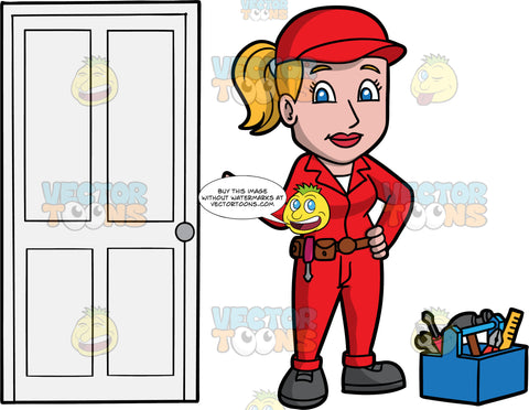 A Female Locksmith Satisfied With A Job Well Done. A woman wearing red overalls with a tool belt around her waist, a red hat, and gray work boots, standing with one hand on her hip, while holding out her other hand, as she stands next to a door she just fixed. A Toolbox filled with various tools sits on the floor next to her