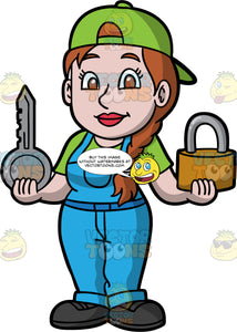 A Female Locksmith Holding A Big Lock And Key. A woman with brown hair tied in a side braid, wearing blue overalls over a green shirt, a green hat on backwards, and black work shoes, holding a big lock in one hand, and a big silver key in the other