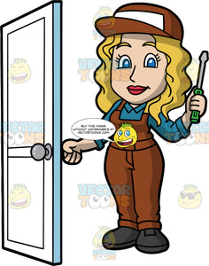 A Female Locksmith Opening A Door She Just Fixed . A woman with dirty blonde hair and blue eyes, wearing brown overalls with a blue shirt underneath, a brown hat, and black work shoes, turning the knob of a door she just fixed with one hand, and holding a screwdriver in the other