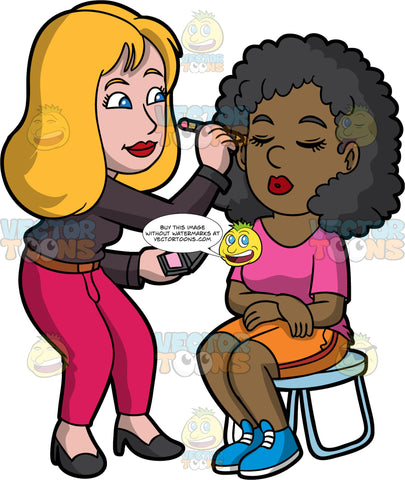 A Female Makeup Artist Applying Eyeliner On A Black Woman. A female makeup artist with blonde hair, wearing a dark brown dress shirt, brown belt, reddish pink pants, black heels, lining the eyes of a black woman with curly hair, sitting on a light blue stool, wearing a bright pink shirt, orange shorts, blue shoes