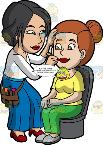 A Female Makeup Artist Applying Lipstick On a Woman. A female makeup artist with black hair, wearing a white blouse, blue pants, red heels, brown utility bag with brushes, applying lipstick on a woman with brown hair tied up in a bun, sitting on a black chair, wearing a yellow shirt, green pants, gray shoes