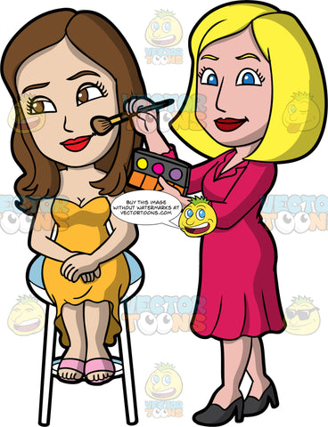 A Female Makeup Artist Applying Blush On A Pretty Woman. A female makeup artist with blonde hair, wearing a reddish pink dress, black heels, holding a brush and a makeup pallet as she applies blush on a woman with brown hair, sitting on a white stool, wearing a strapless yellow dress, pink sandals