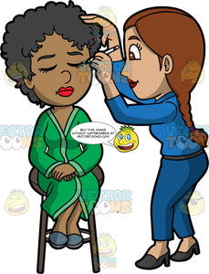 A Female Makeup Artist Applying Eyeliner On A Sophisticated Black Woman. A female makeup artist with braided brown hair, wearing a blue dress shirt, pants, black heels, applying eyeliner on a black woman with curly short hair, sitting on a dark brown stool, green dress, gray shoes