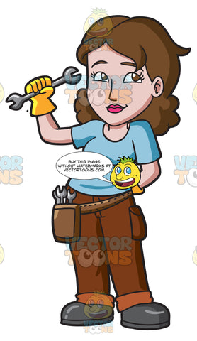 A Female Car Mechanic Holding A Wrench