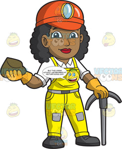 A Female Miner Holding A Rock