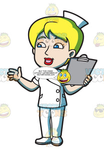 A Female Nurse With A Clipboard