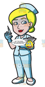 A Female Nurse Holding A Syringe