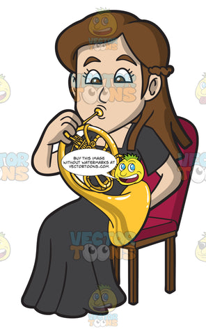 A Woman Playing A French Horn