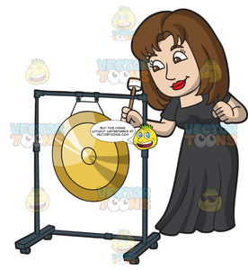 A Woman Playing An Orchestral Gong