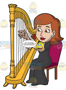 A Woman Playing A Harp