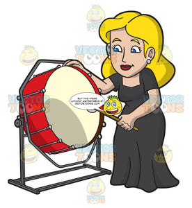 A Woman Playing A Bass Drum