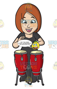 A Woman Playing A Conga Drum