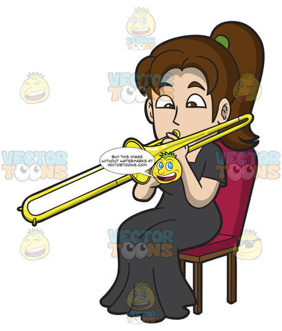 A Woman Playing A Trombone