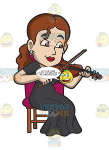 A Woman Playing A Violin In An Orchestra Concerto