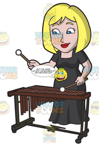 A Woman Playing A Xylophone In An Orchestra Concerto