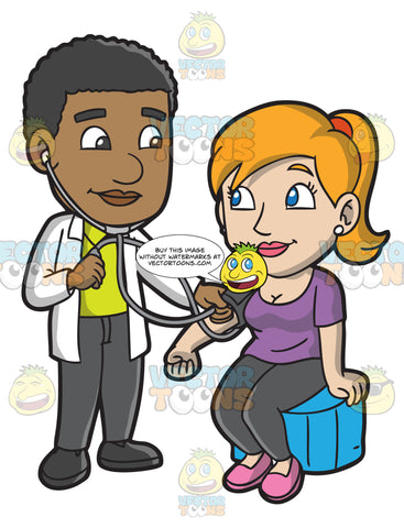 A Doctor Checking The Blood Pressure Of His Female Patient