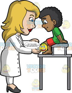 A Female Pediatrician Attending To An Injured Boy. A female pediatrician with blonde hair, wearing a white coat, pants, black heels, smiles while attending to a small black boy patient wearing a green shirt, red shorts, who is smiling despite his injured left foot