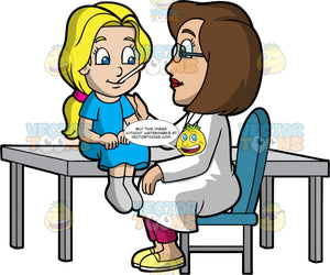 A Female Pediatrician Checking The Temperature Of Her Patient. A female pediatrician with brown hair, wearing a pair of eyeglasses, white coat, fuchsia pants, yellow shoes, sitting on a teal chair behind a gray table while checking up on a girl with blonde hair, wearing a blue dress and gray socks, who is sitting in front of her
