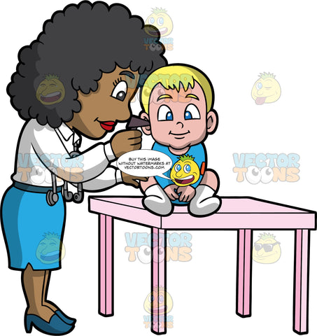 A Black Female Pediatrician Checks On The Ear Of A Toddler. A black female pediatrician with curly hair, wearing a white dress shirt, light blue skirt, teal heels, a gray stethoscope around her collar, inspects the ear of a small boy with blonde hair, wearing a blue onesie with orange elbow patches, white socks, smiles while sitting on a pink table