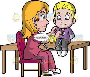 A Female Pediatrician Checks The Breathing Of A Boy Using A Stethoscope. A female pediatrician with blonde hair, wearing a rose colored scrub suit, white shoes, sitting on a fuchsia padded chair, as she smiles and check the breathing of a small boy with blonde hair, wearing a purple shirt, gray pants, white shoes, using a gray stethoscope