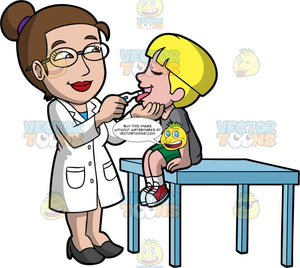 A Female Pediatrician Getting The Body Temperature Of A Boy. A female pediatrician with brown hair tied up in a bow, wearing a white coat, black heels, eyeglasses, smiles while checking the body temperature of a young boy with blonde hair, wearing a gray shirt, green shorts, white socks, red with white sneakers, who is sitting on a light blue table