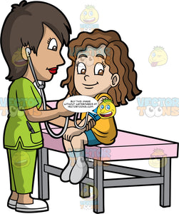 A Female Pediatrician Taking The Blood Pressure Of A Girl. A female pediatrician with short brown hair, wearing a green scrub suit, white shoes, concentrates while getting the blood pressure of a girl with curly brown hair, wearing an orange shirt, teal shorts, gray socks, who is smiling while sitting on a pink table with gray legs